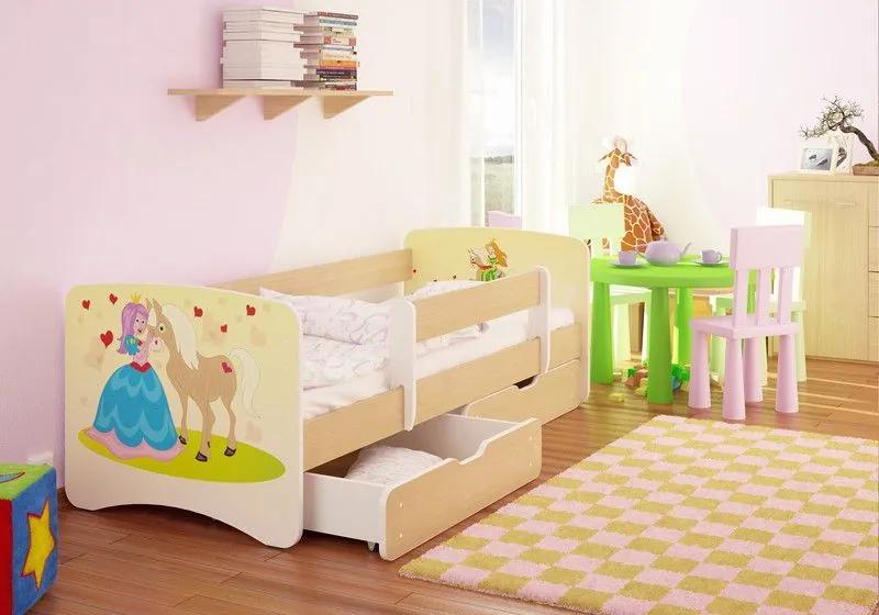 MAXMAX Detská posteľ PRINCEZNA A KONÍK funny 160x80 cm - sa zásuvkou 160x80 pre dievča ÁNO
