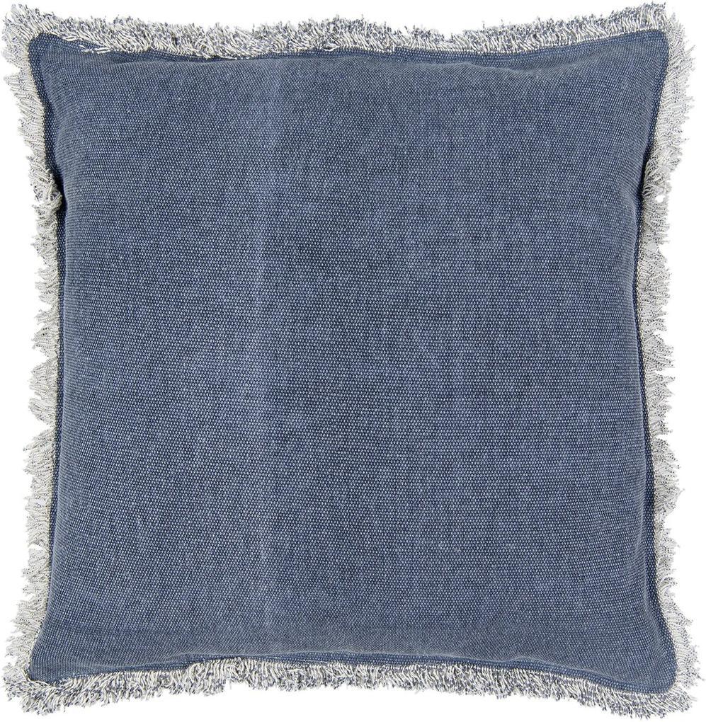 Modrý bavlnený vankúš v denim dizajne s strapcami - 45 * 45 cm