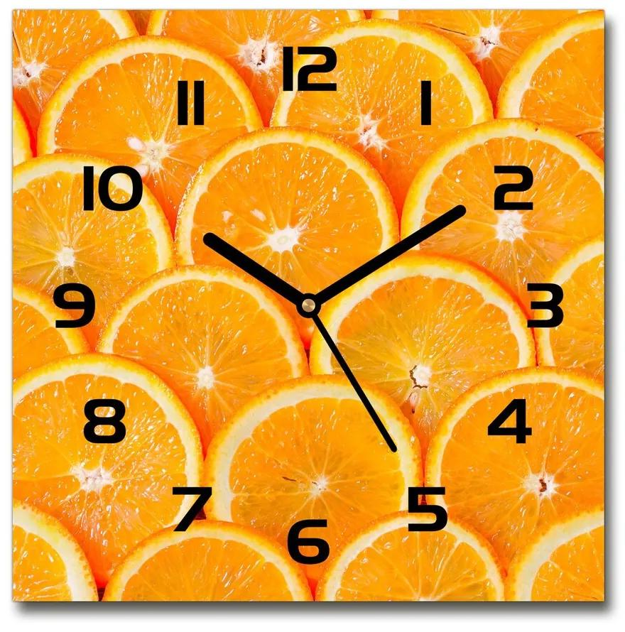 Sklenené hodiny štvorec Plátky pomarančov pl_zsk_30x30_f_82047146