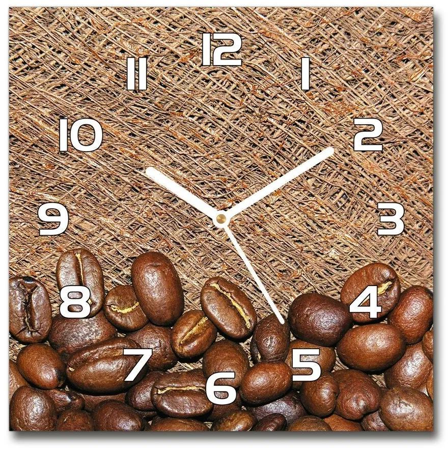 Sklenené hodiny štvorec Zrnká kávy pl_zsk_30x30_f_39909310