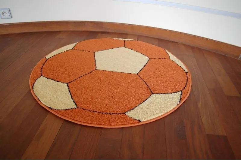 3kraft Detský guľatý koberec WELIRO FOOTBALL oranžový