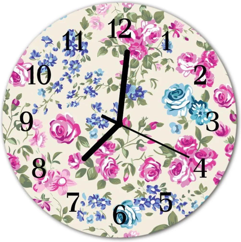 Sklenené hodiny okrúhle  ruže