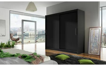 Veľká šatníková skriňa BEGA I čierna šírka 180 cm