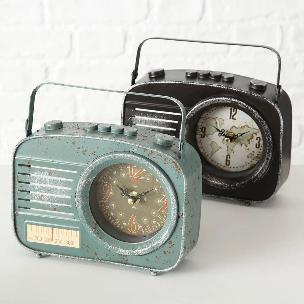 Hodiny Retro rádio, šedozelené