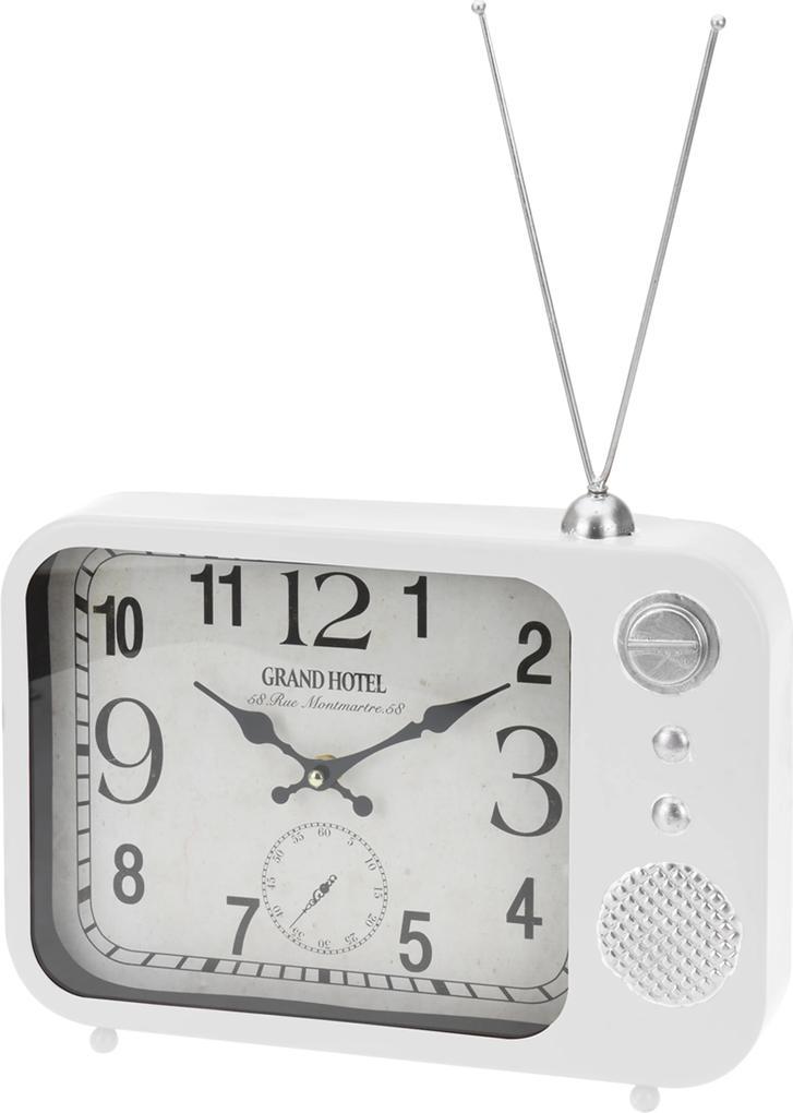Bez značky Stolné hodiny s dizajnom rádia, biele