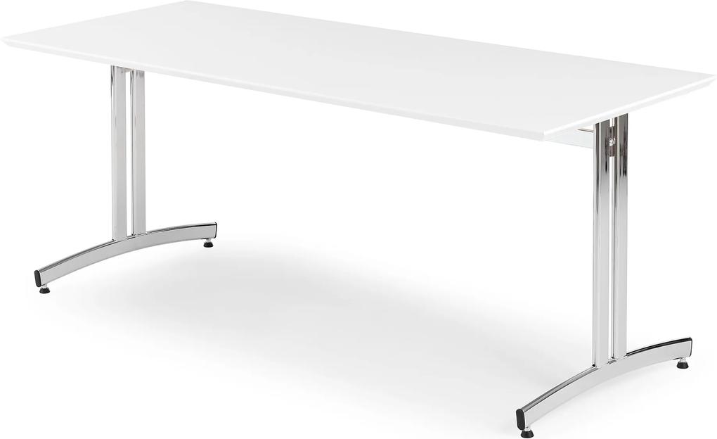Jedálenský stôl Sanna, Š 1800 x H 700 x V 720 mm, biela / chróm