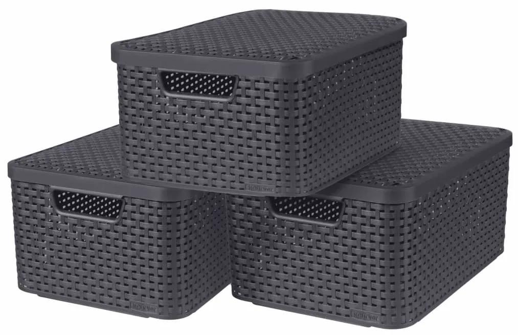 Curver Úložné boxy s poklopmi 3 ks veľkosť M antracitové Style