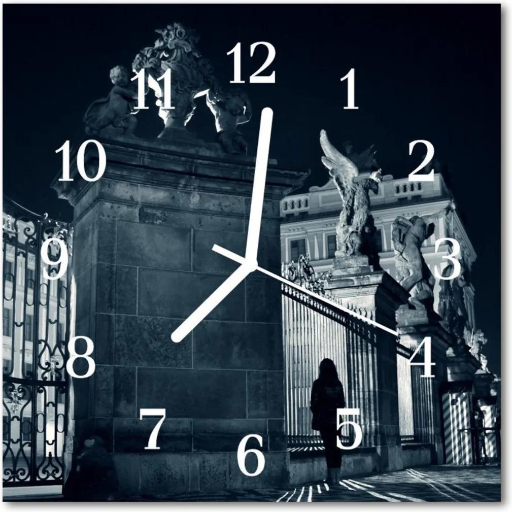 Nástenné skleněné hodiny Městské památky