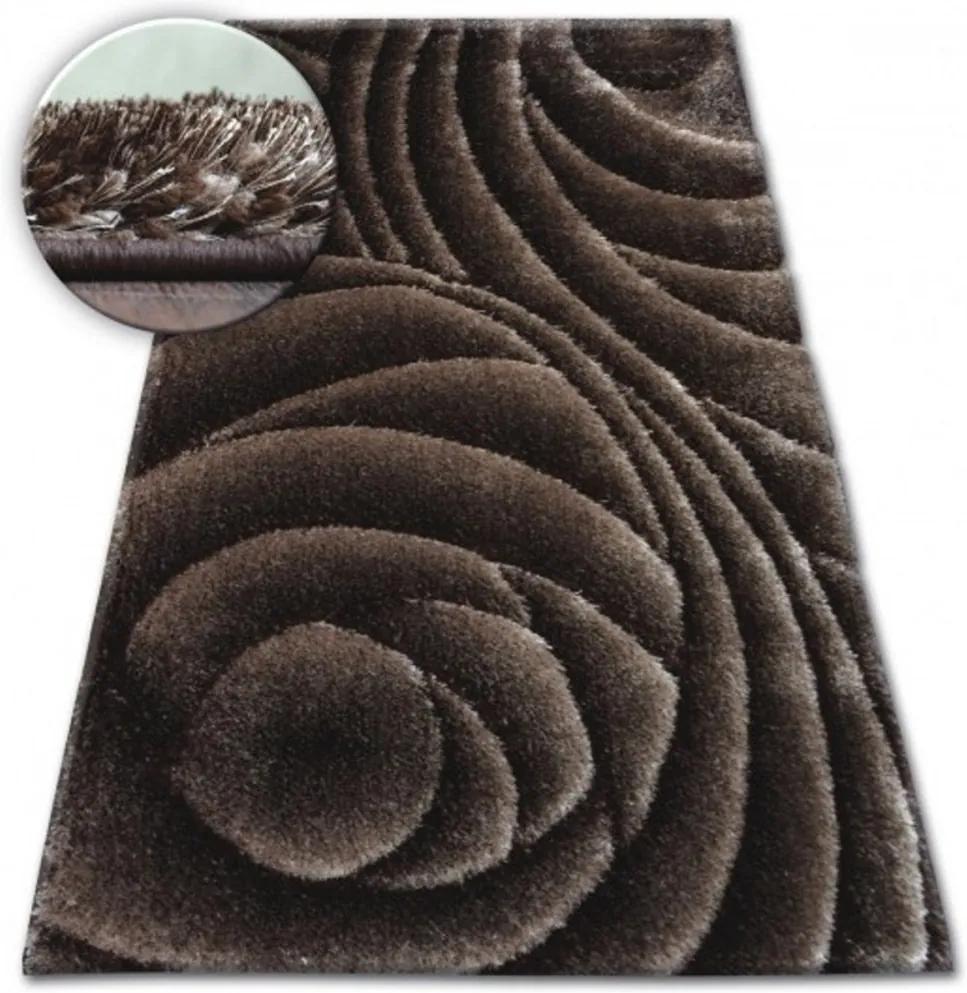 Luxusný kusový koberec Shaggy Rose hnedý, Velikosti 160x220cm