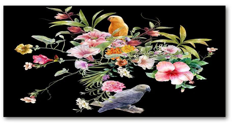 Foto obraz akrylový Kvety a vtáky pl-oa-140x70-f-172830209