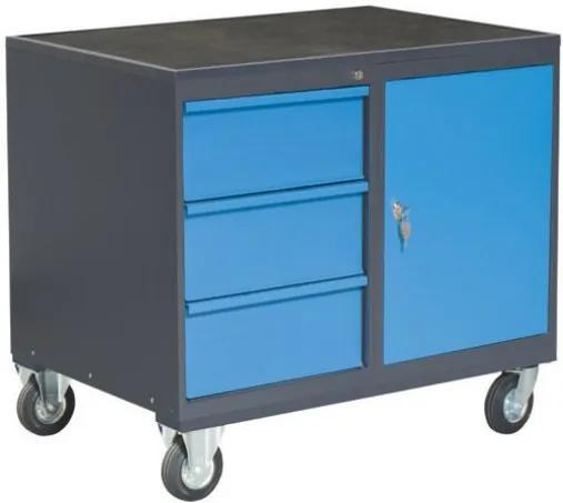 NABBI PLW01G/P8P1 dielenský vozík na kolieskach so zámkom grafit / modrá
