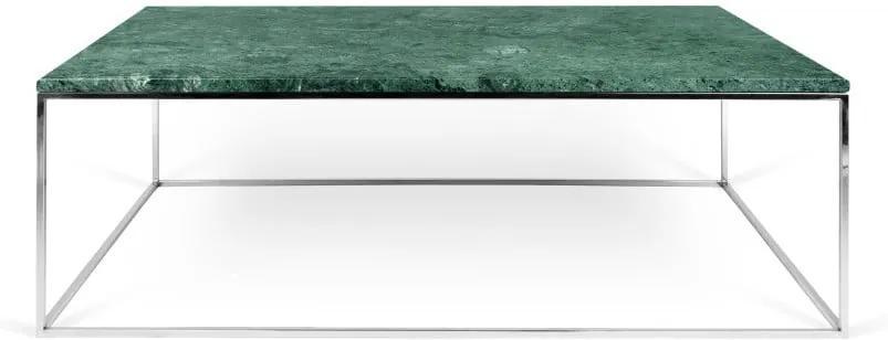 Konferenčný stolík s chrómovaným podnožím a zelenú mramorovou doskou TemaHome Prairie, šírka 120 cm