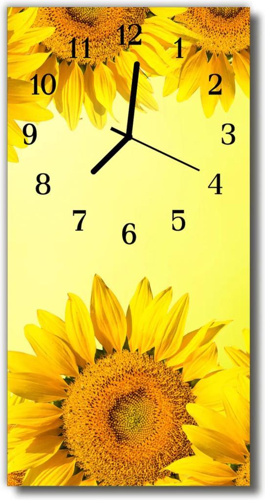 Skleněné hodiny vertikální Květiny Slunečnice žlutá