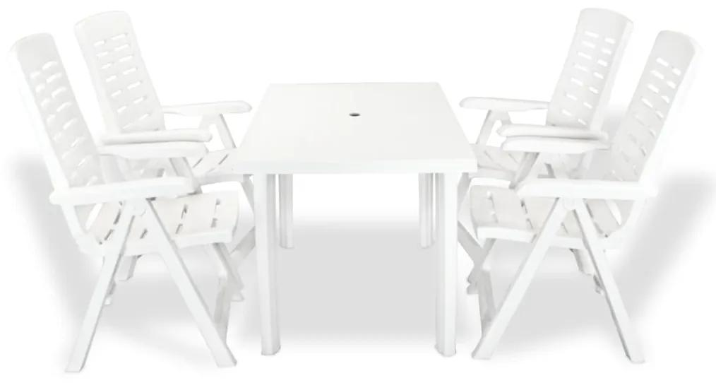 vidaXL 5-dielna vonkajšia jedálenská súprava biela plastová