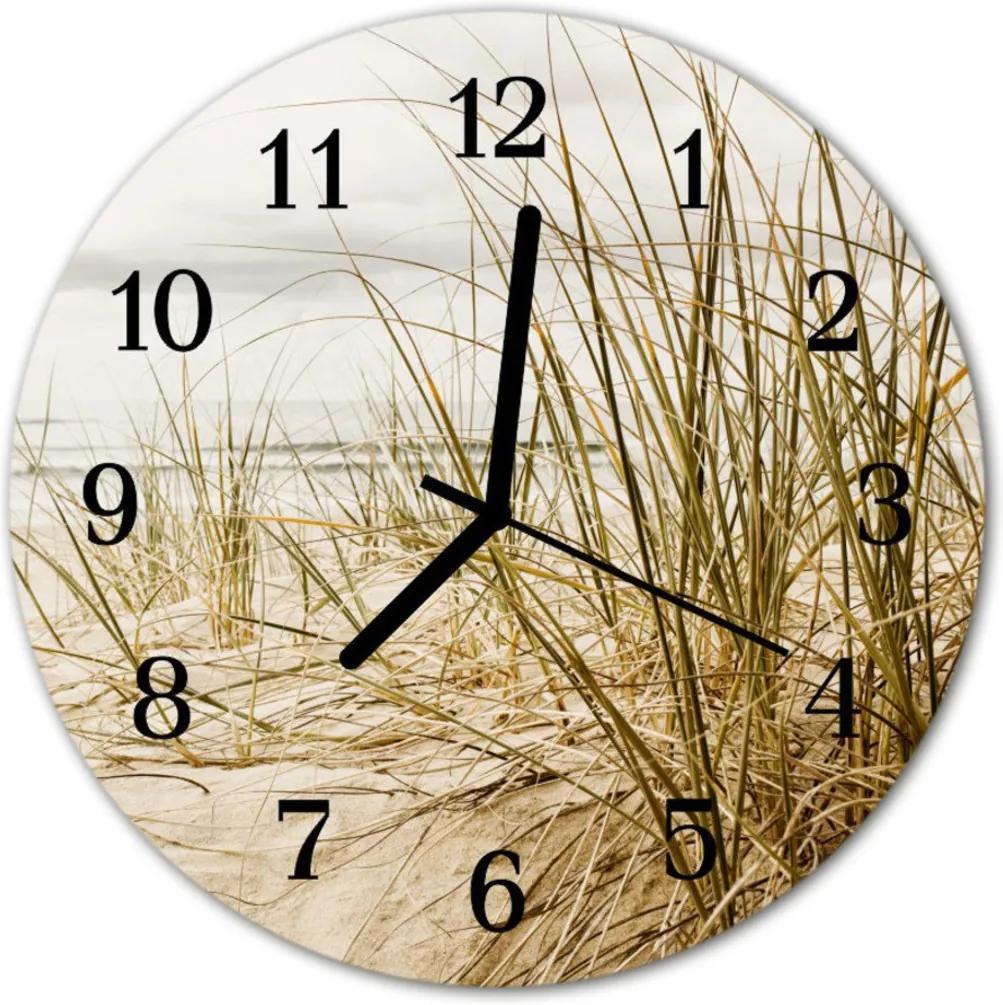 Skleněné hodiny kulaté Plážová tráva