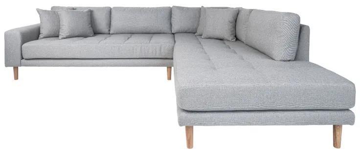Dizajnová rohová sedačka Ansley svetlosivá - pravá