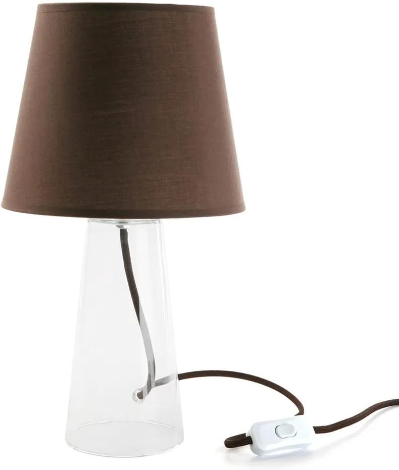 Hnedá sklenená stolová lampa Versa Bobby, ø 21,5 cm