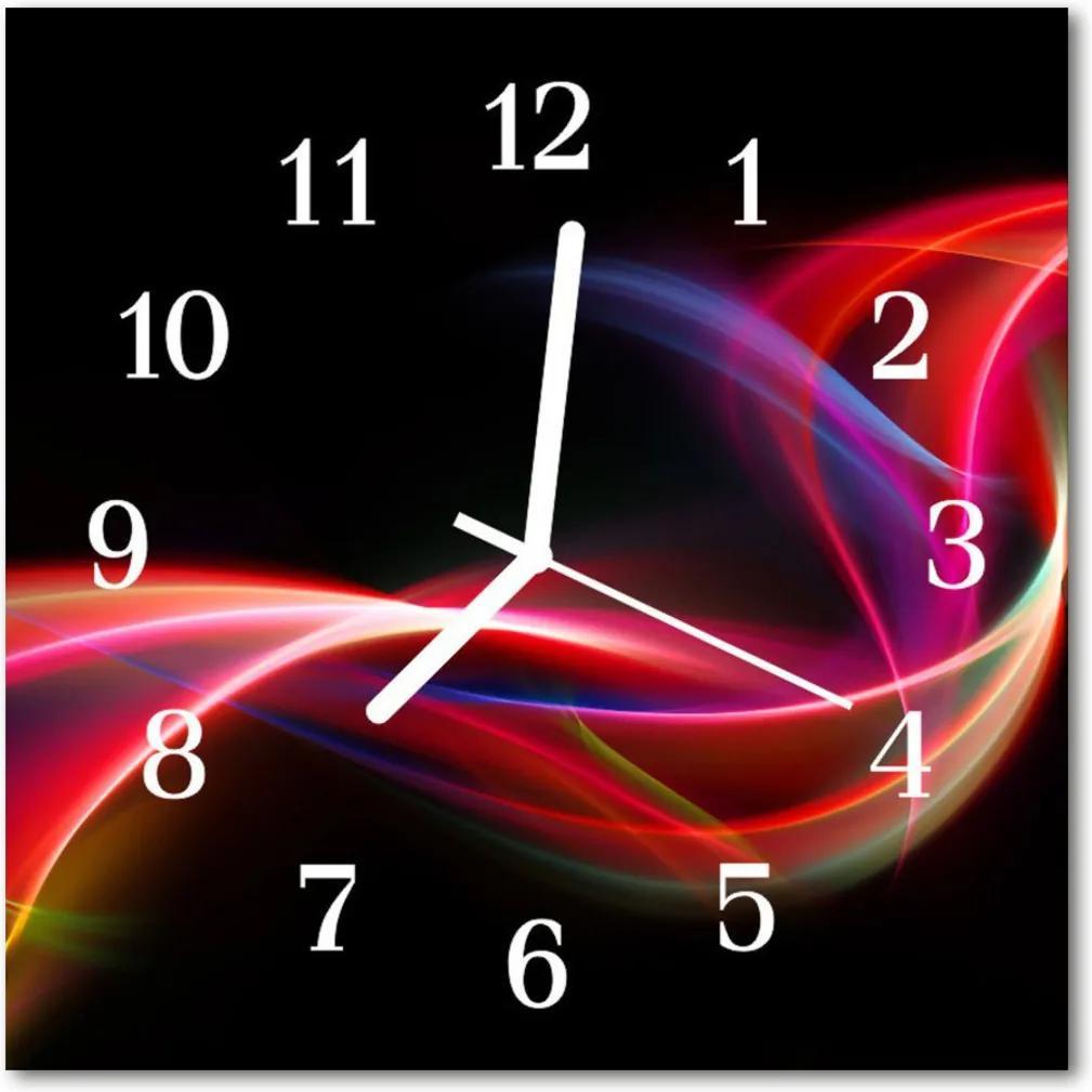 Skleněné hodiny čtvercové Abstraktní čáry