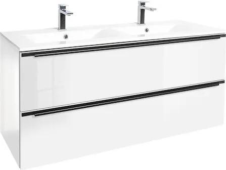 Kúpeľňová skrinka s umývadlom Naturel Nobia 120x60x46 cm biela lesk NOBIA120ZBL