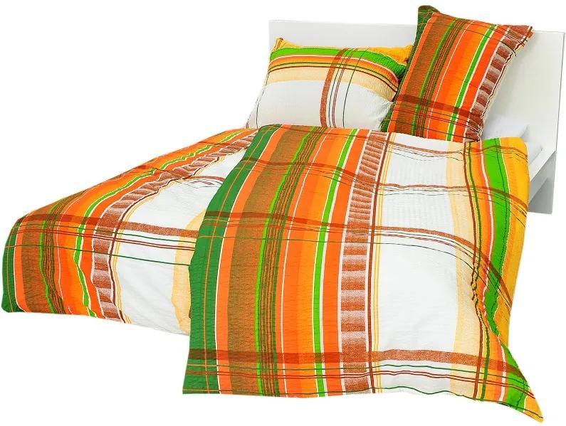 Posteľné obliečky bavlnené Oranžovozelené pásy gombíky 140x200cm + 90x70cm