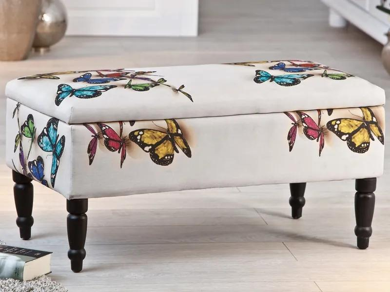 Úložná lavica Trondheim, s motívom motýľa