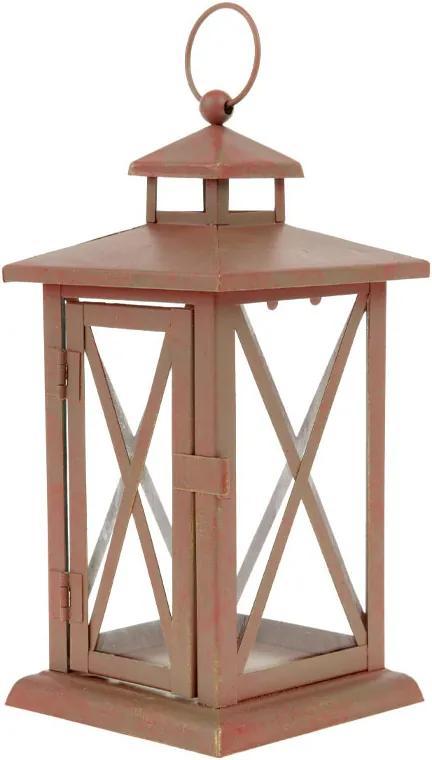 Lucerna kovová farba červená antik 11,5x11,5x23,5cm