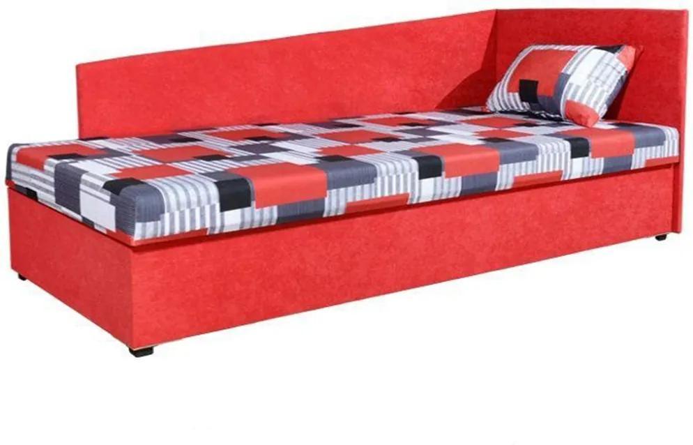 Celočalúnená váľanda s pružinovým matracom, pravá, červená/vzor, EDVIN 4 LUX