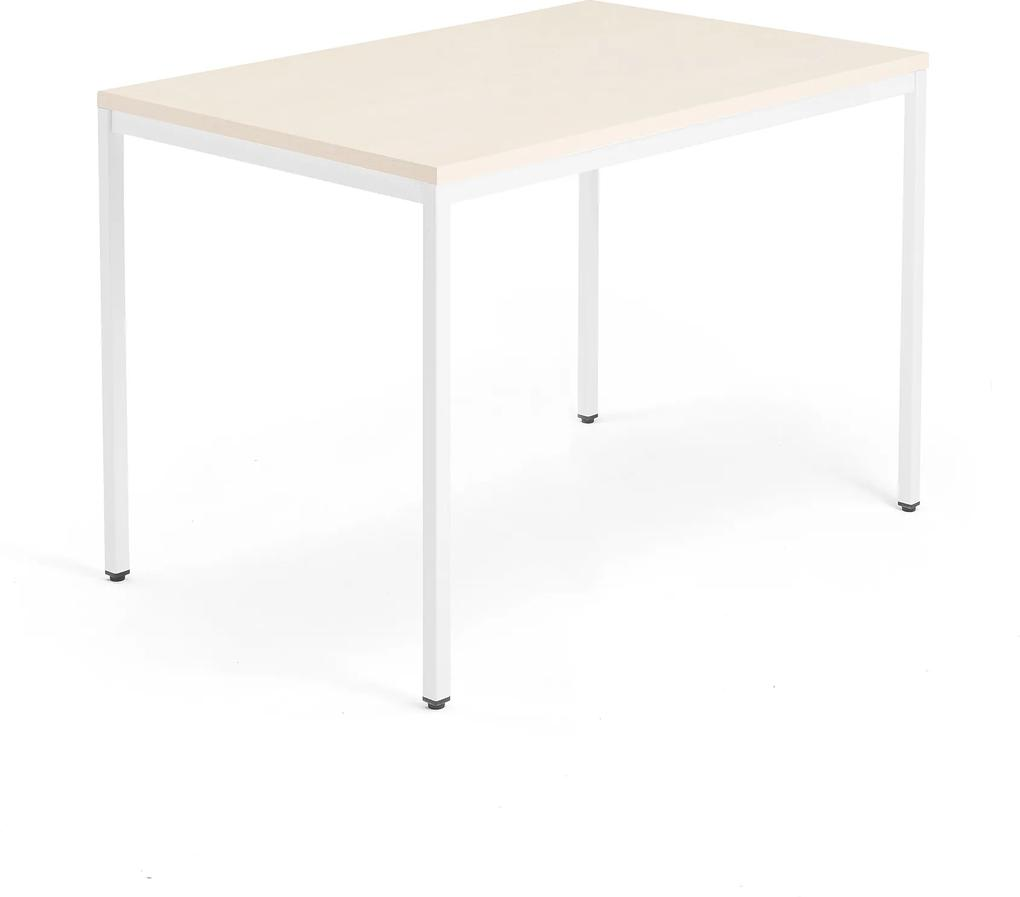 Kancelársky pracovný stôl Modulus, 1200x800 mm, breza/biela