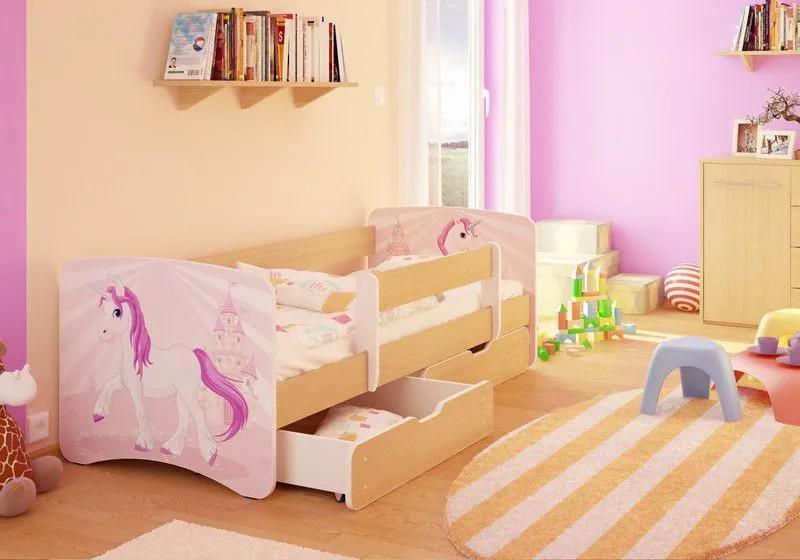 MAXMAX Detská posteľ Jednorožec funny 160x80 cm - sa zásuvkou 160x80 pre dievča ÁNO