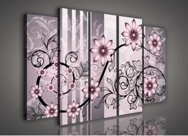 Obraz na plátne viacdielny - OB2884 - Ružové kvety 150cm x 100cm - S12