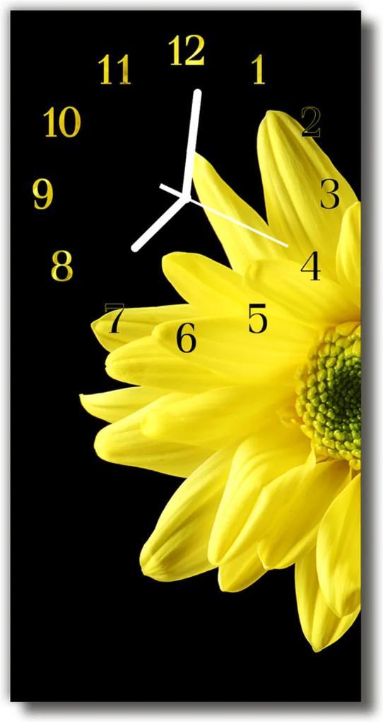 Skleněné hodiny vertikální Květiny, příroda, žluté okvětní lístky