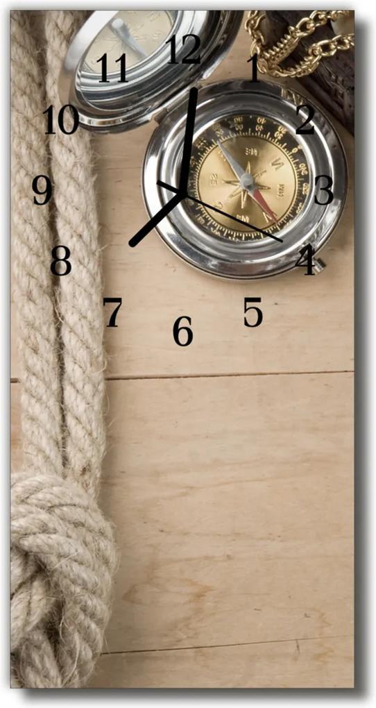 Skleněné hodiny vertikální Kompasové béžové dřevo