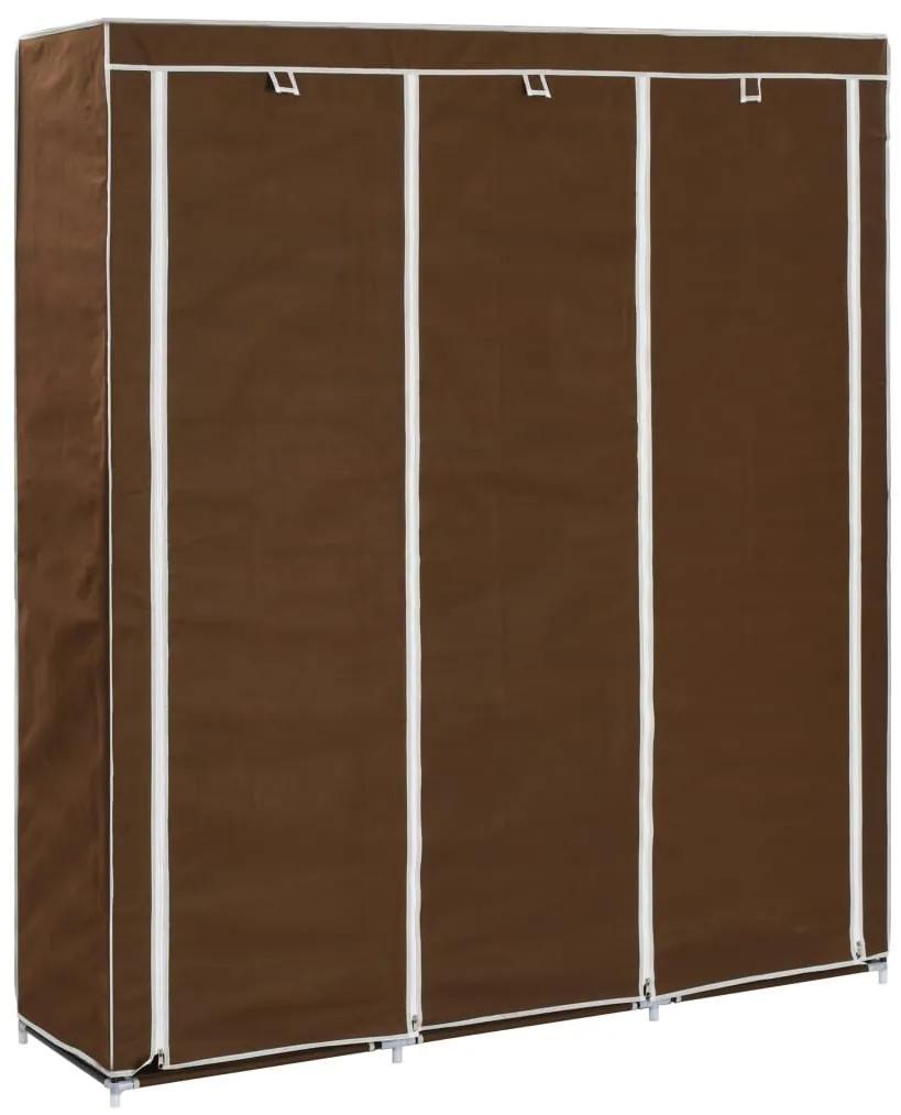 vidaXL Šatník s priehradkami a tyčami hnedý látkový 150x45x175 cm