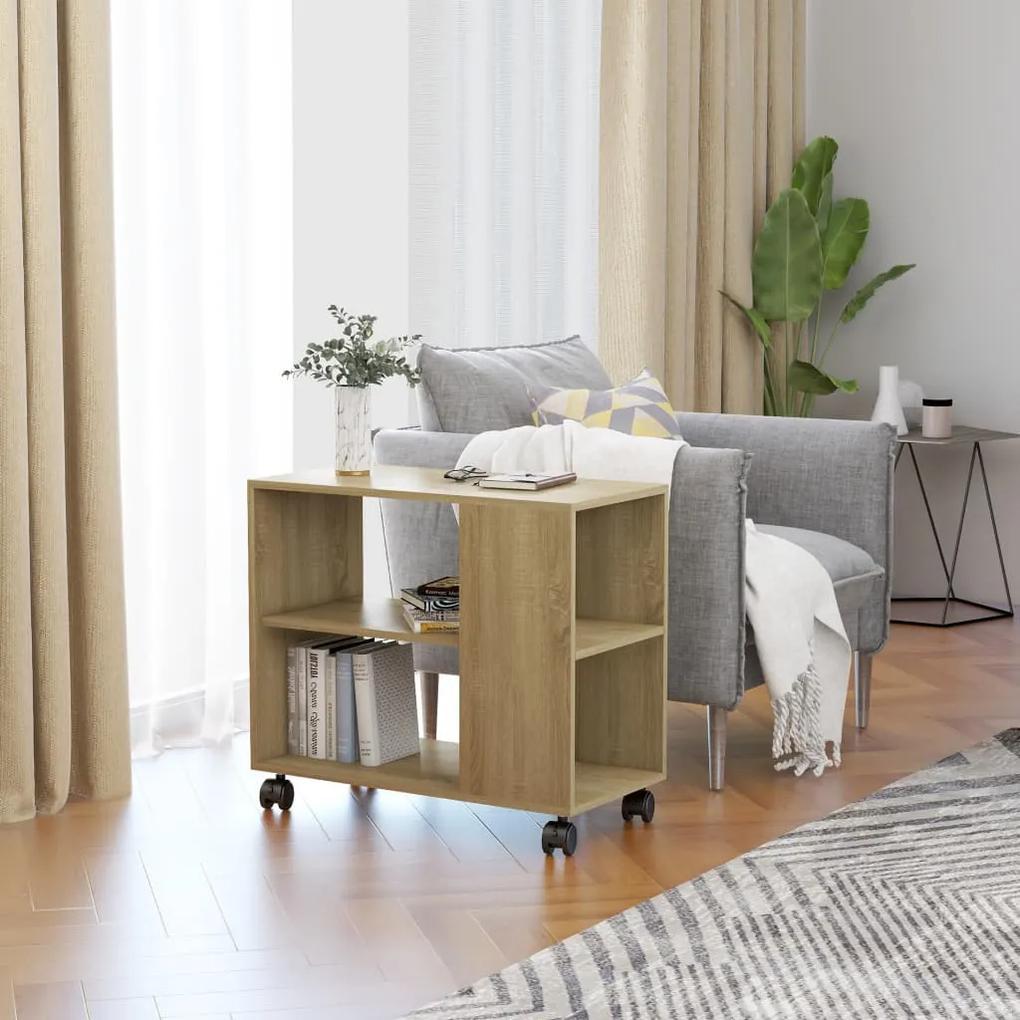 vidaXL Príručný stolík dub sonoma 70x35x55 cm drevotrieska