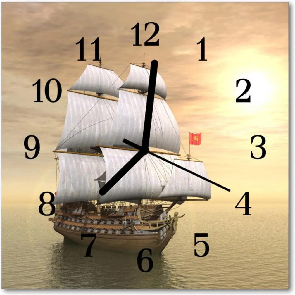 Nástenné skleněné hodiny loď