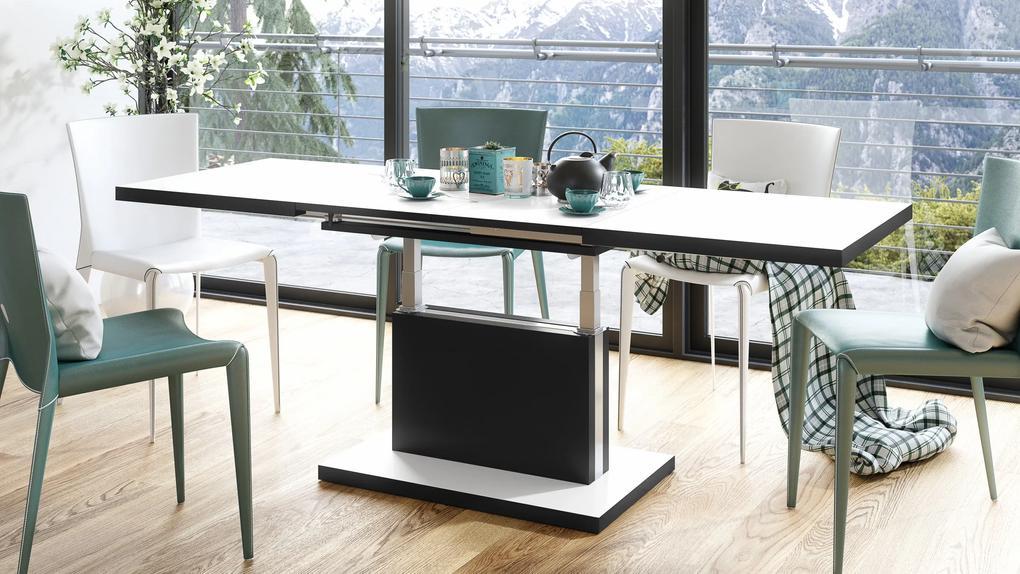PRESTIGE ASTON rozkladací, zdvíhací, konferenčný stolík, čiernobiely