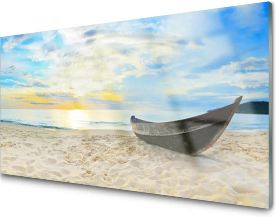 Skleněný obraz Szklane loďku Plaża Morze