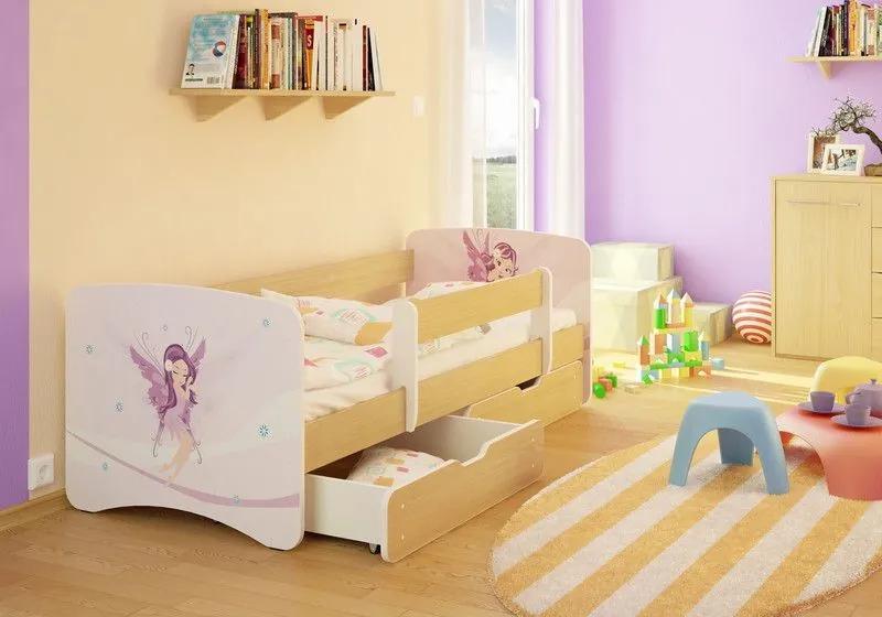 MAXMAX Detská posteľ VÍLA V OBLAKOCH funny 160x90cm - so zásuvkou 160x90 pre dievča ÁNO