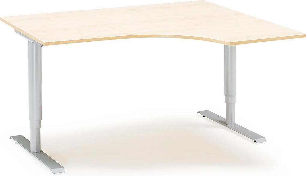 Výškovo nastaviteľný stôl Adeptus, pravý, 1600x1200 mm, breza lam./šedá