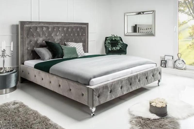 IIG -  Manželská posteľ Chesterfield EXTRAVAGANCIA 160x200 cm strieborno šedý zamat