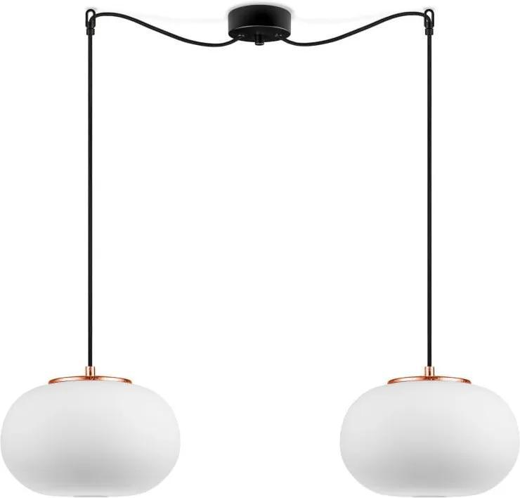 Biele závesné svietidlo s 2 tienidlami a s medenou objímkou Sotto Luce dose