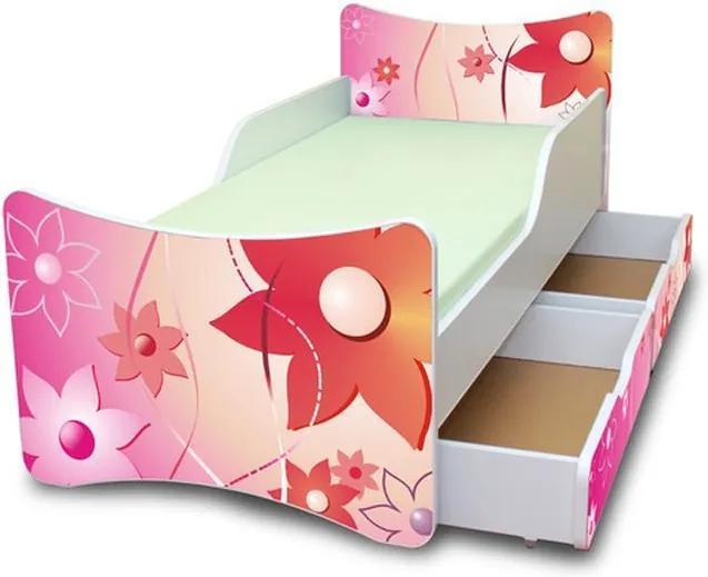 MAXMAX Detská posteľ so zásuvkami 200x80 cm - KVETINKY 200x80 pre dievča ÁNO