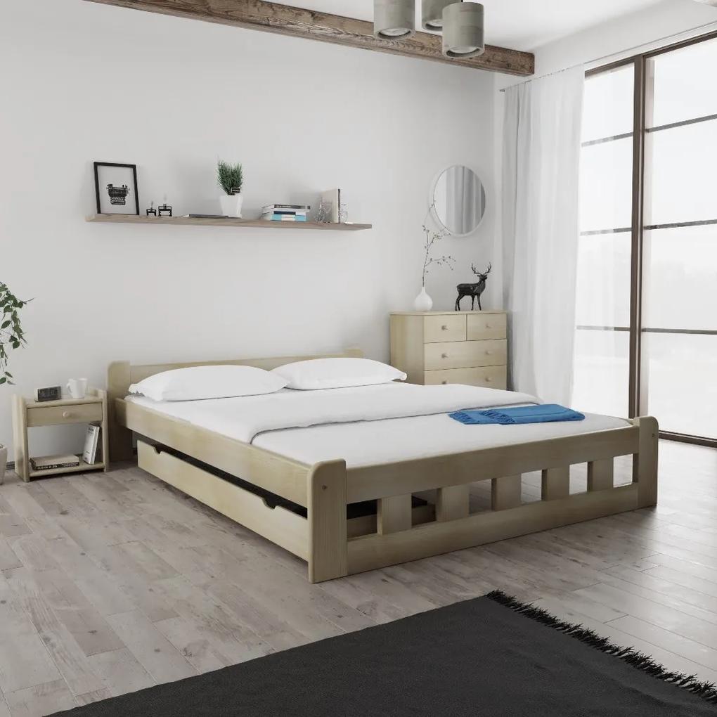 Maxi Drew Posteľ Naomi zvýšená 140 x 200 cm, borovica Rošt: s latkovým roštom, Matrac: s matracom Economy 10 cm