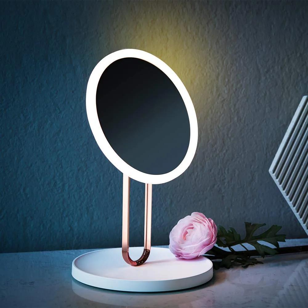 BEZDOTEKU LED kozmetické makeup zrkadlo BALET nabíjacie ružové