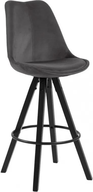 Barová židle Damian, samet, tmavě šedá/černá SCHDN0000075810S SCANDI+