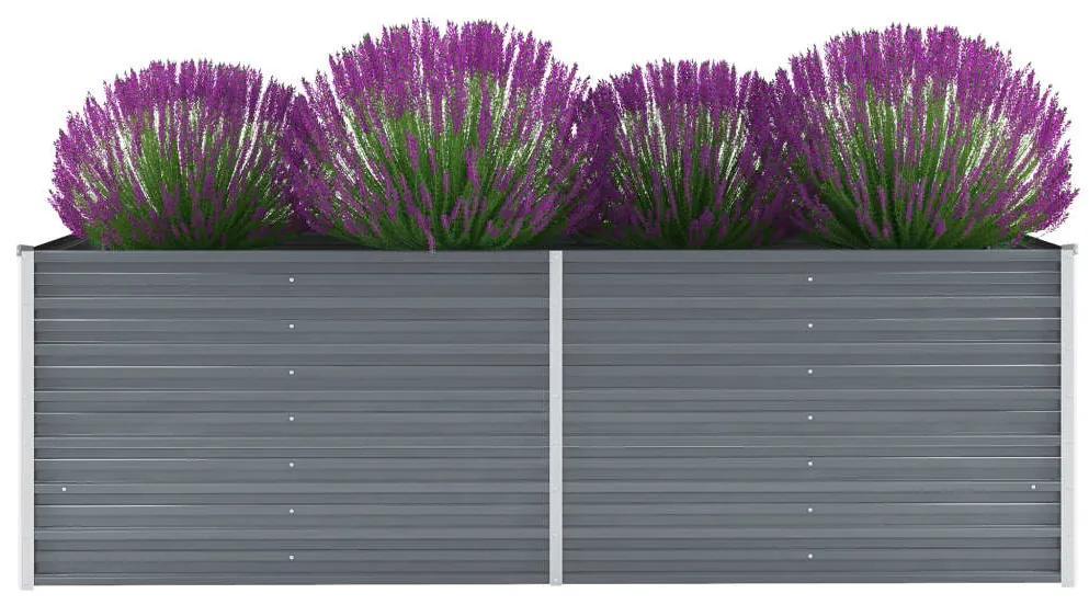 vidaXL Záhradný kvetináč, pozinkovaná oceľ, 240x80x77 cm, sivý