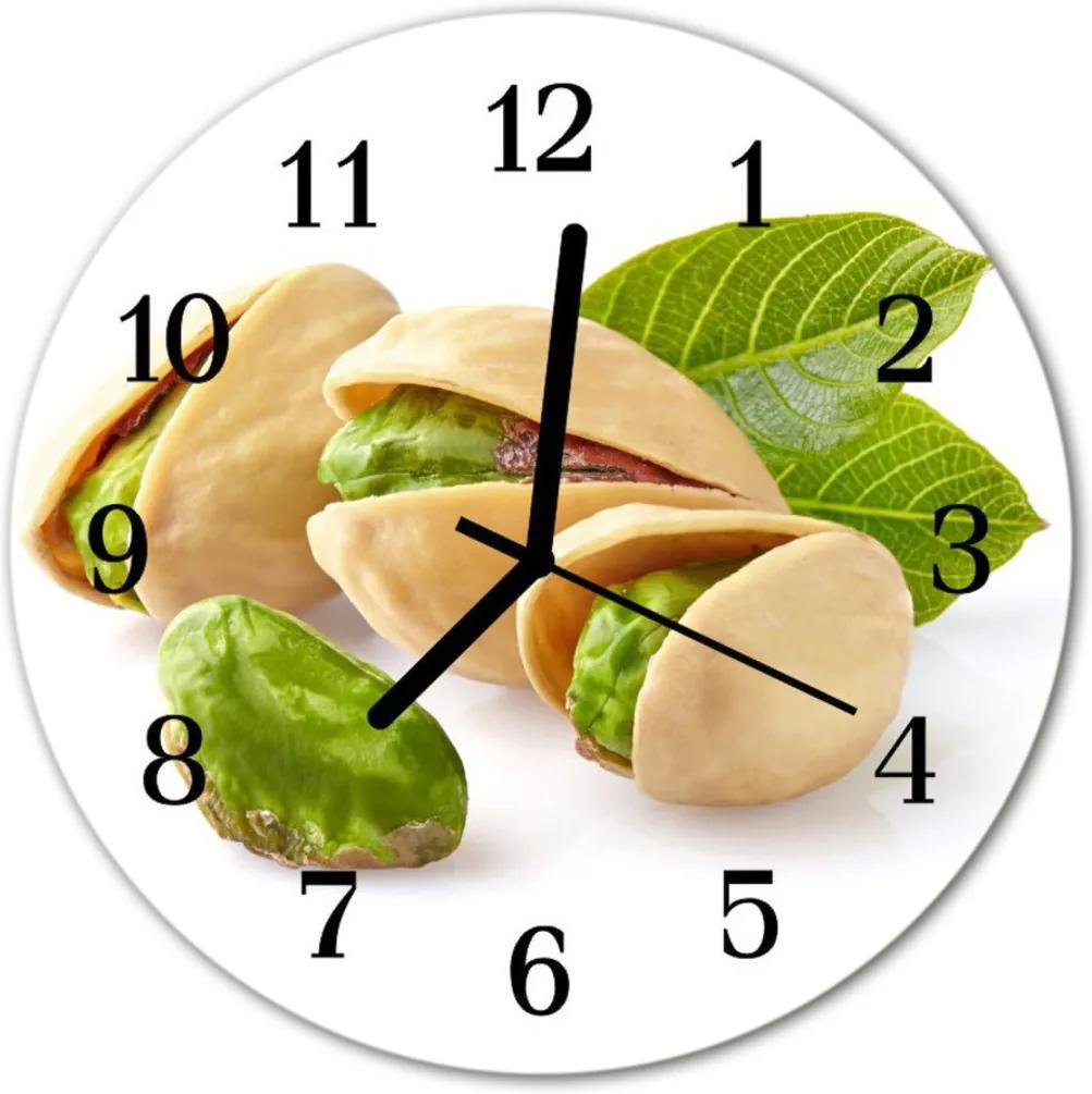 Nástenné skleněné hodiny ořechy