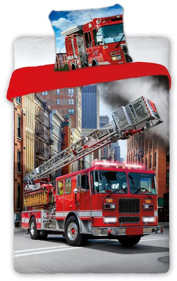 Posteľné bavlnené obliečky Požiarnické auto 01 140x200 70x80 cm 100% Bavlna Faro