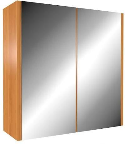 Väčšia závesná zrkadlová skriňa nad umývadlo Olše světlá