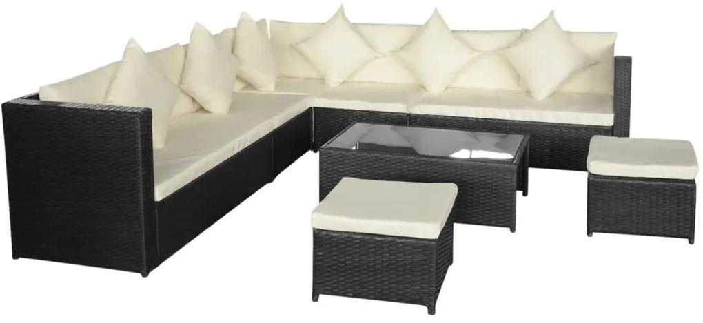 29-dielna záhradná sedacia súprava, čierny polyratan